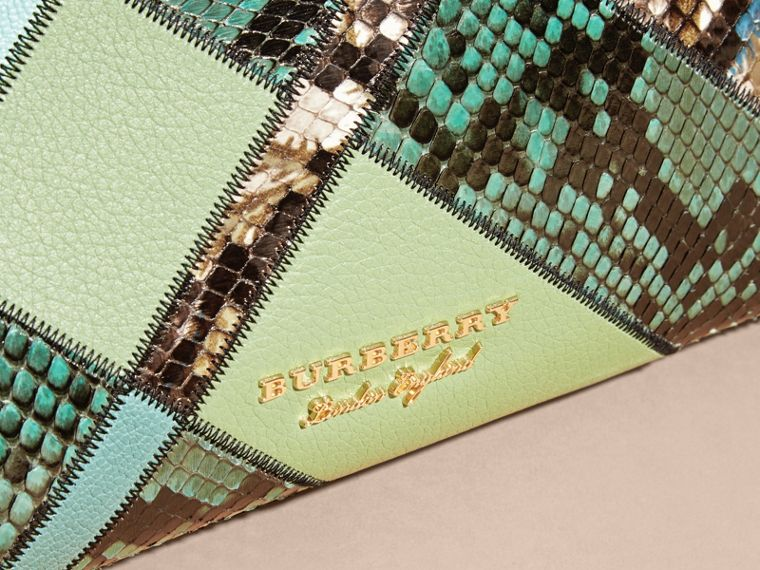 The Medium Banner in Patchwork Leather and Python Celadon Blue - cell image 1