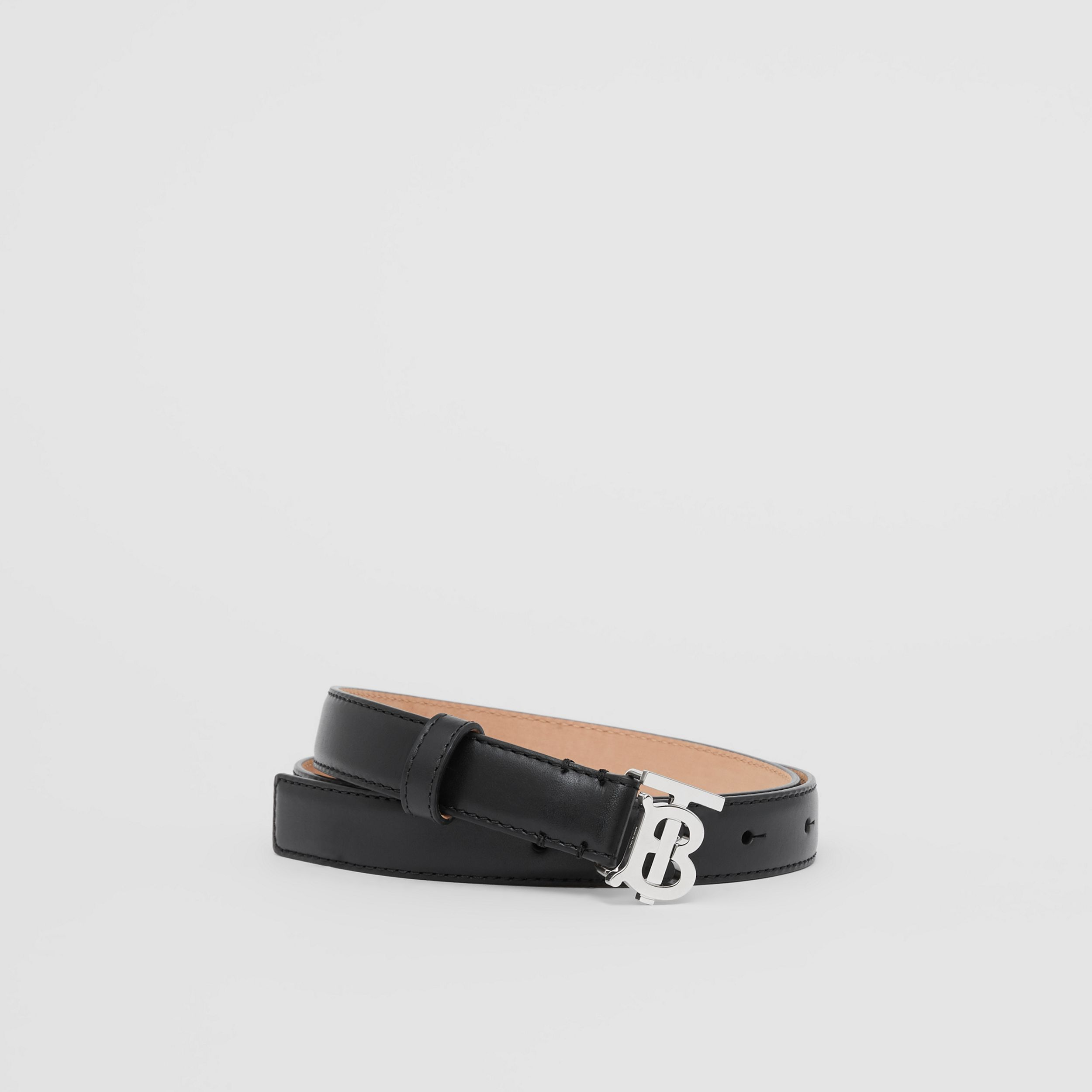 Monogram Motif Leather Belt in Black/palladio - Women | Burberry - 1