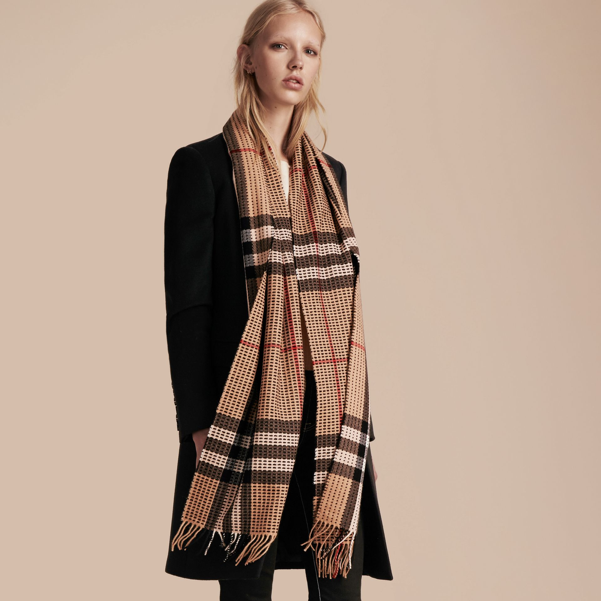 Camel check The Classic Cashmere Scarf in Check with Topstitch Detail Camel - gallery image 3