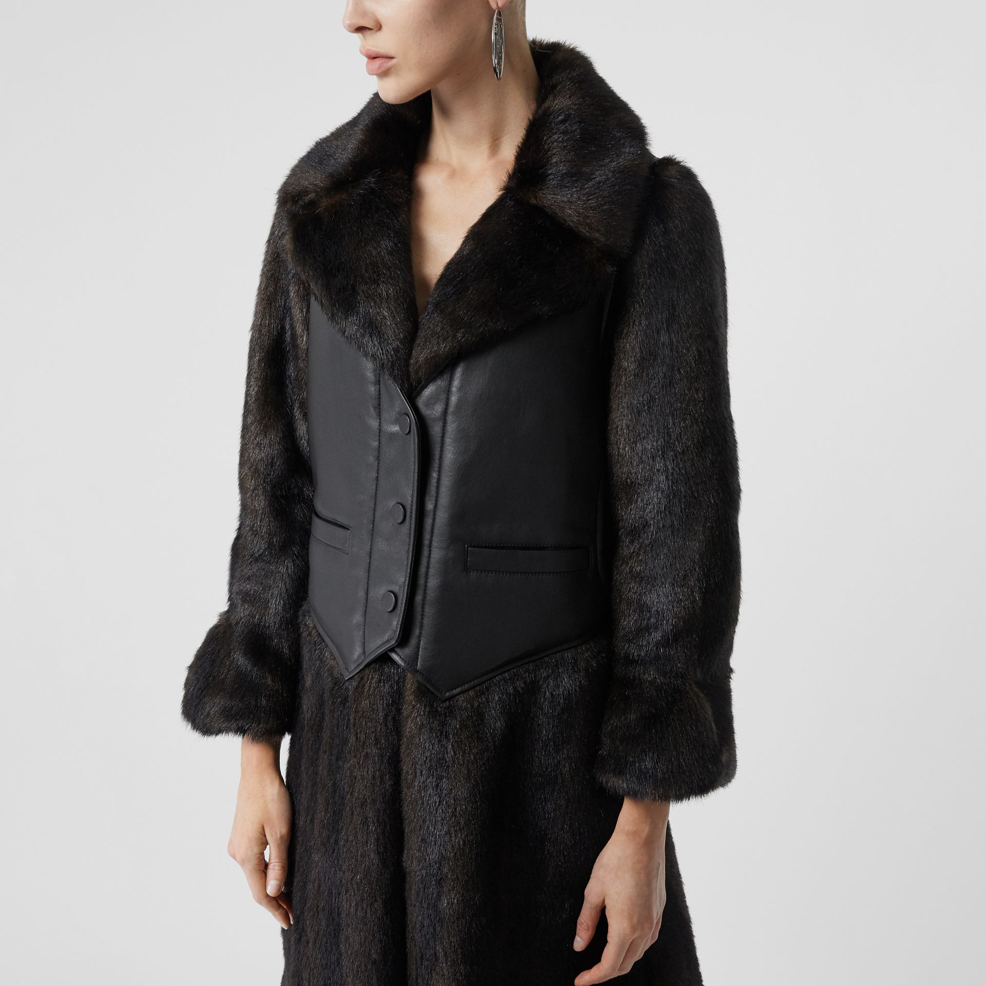 Waistcoat Detail Faux Fur Coat in Black - Women | Burberry - gallery image 4