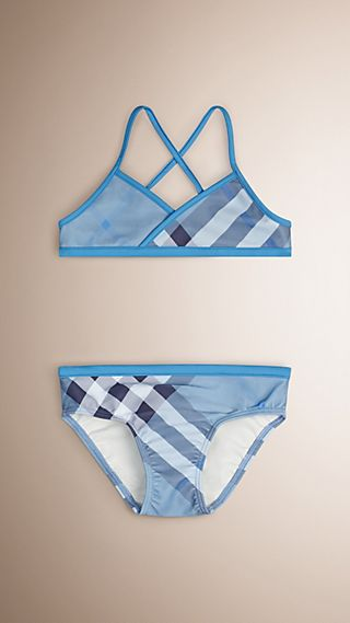 Check Bikini with Contrast Trim