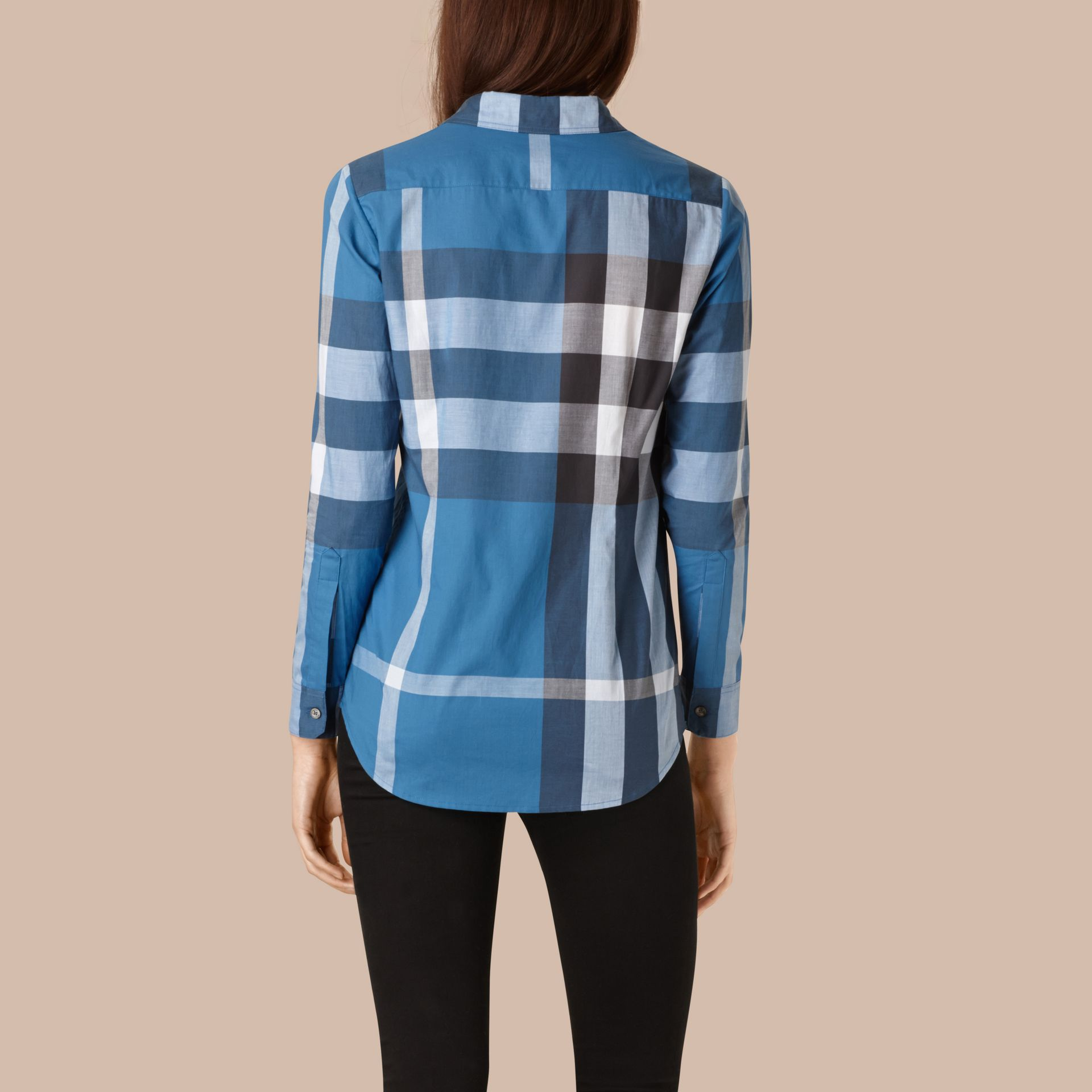 Lupin blue Check Cotton Shirt Lupin Blue - gallery image 2