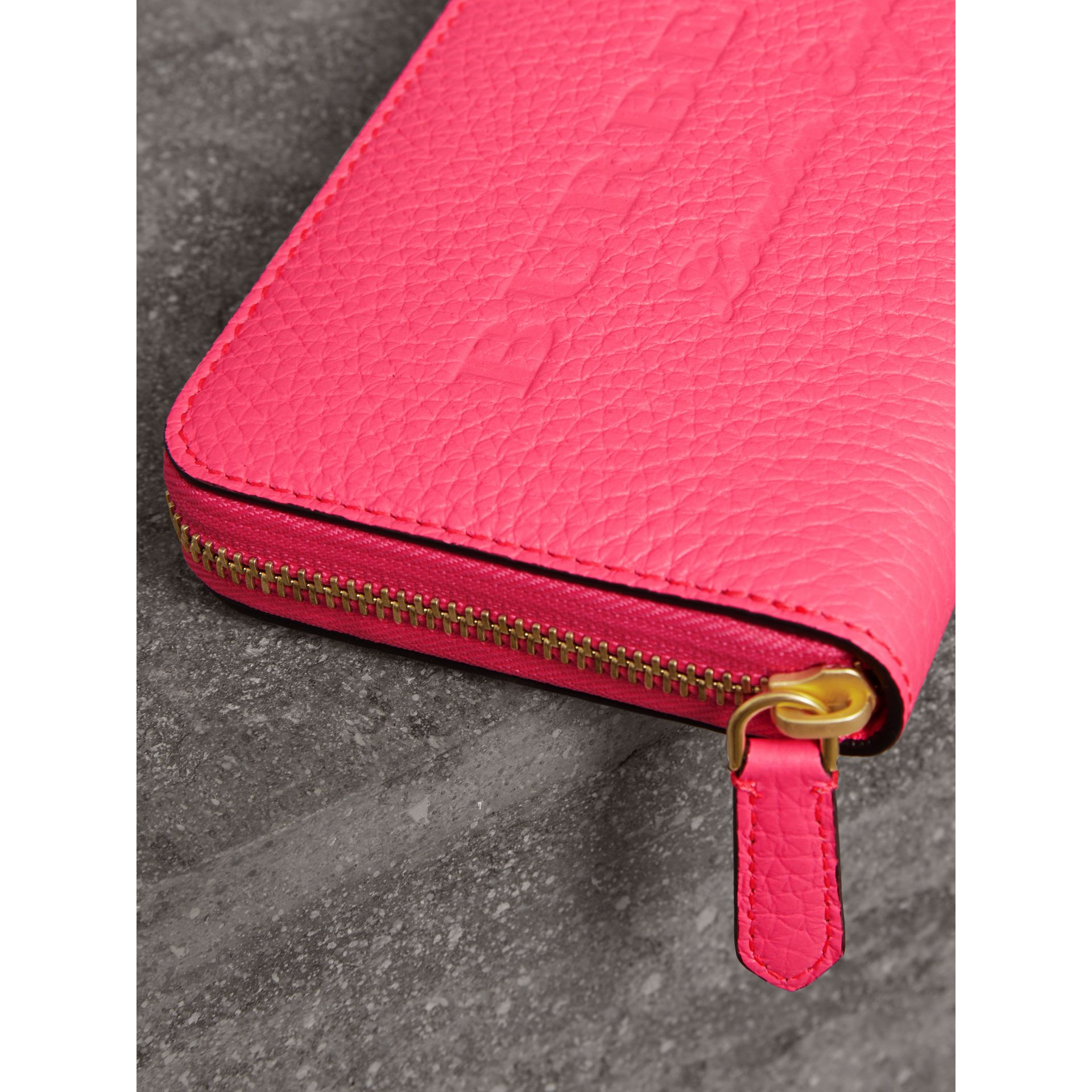 Embossed Leather Ziparound Wallet in Bright Pink - Women | Burberry - gallery image 1