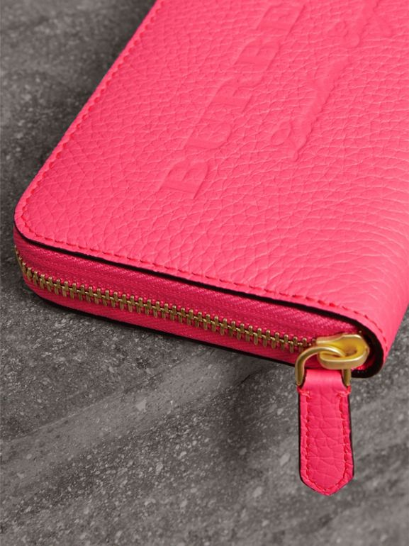 Embossed Leather Ziparound Wallet in Bright Pink - Women | Burberry United Kingdom - cell image 1