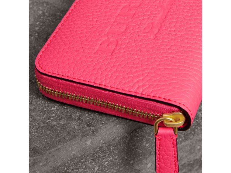 Embossed Leather Ziparound Wallet in Bright Pink - Women | Burberry - cell image 1