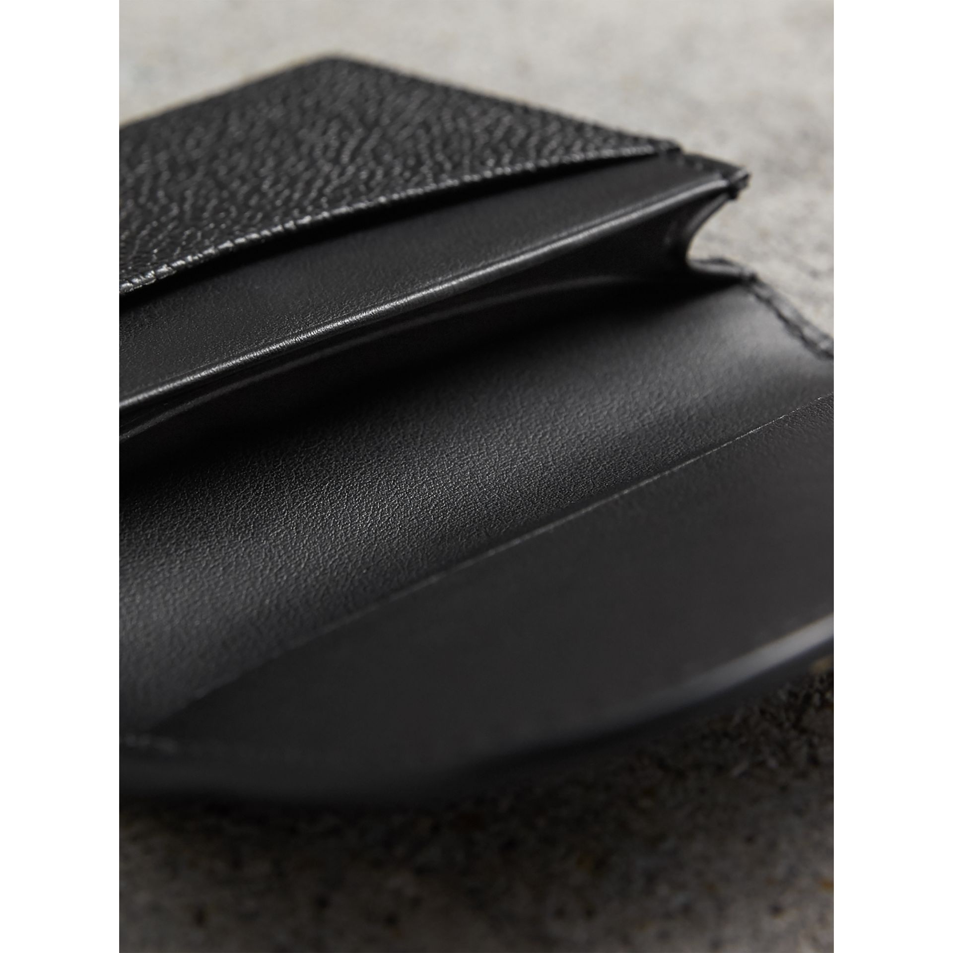 Grainy Leather Card Case in Black - Women | Burberry - gallery image 4