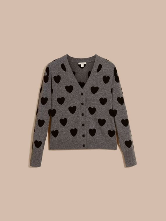 Heart Intarsia Merino Wool Cardigan in Mid Grey Melange - Women | Burberry - cell image 3