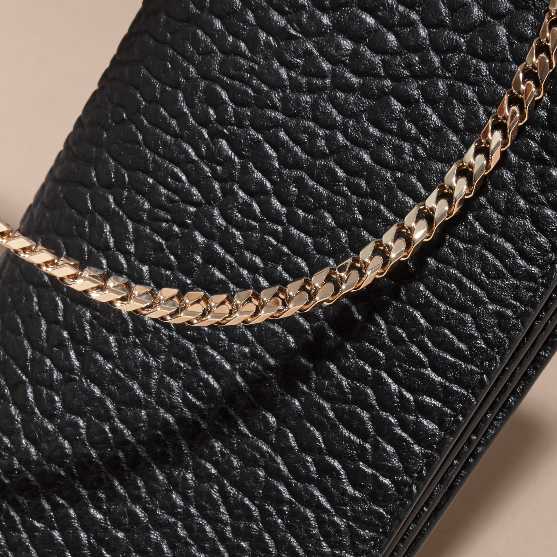 Black Small Signature Grain Leather Clutch Bag with Chain - gallery image 7