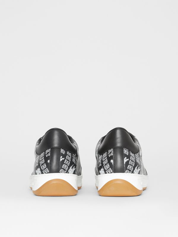 EKD Logo Print Leather Sneakers in Black - Men | Burberry - cell image 3