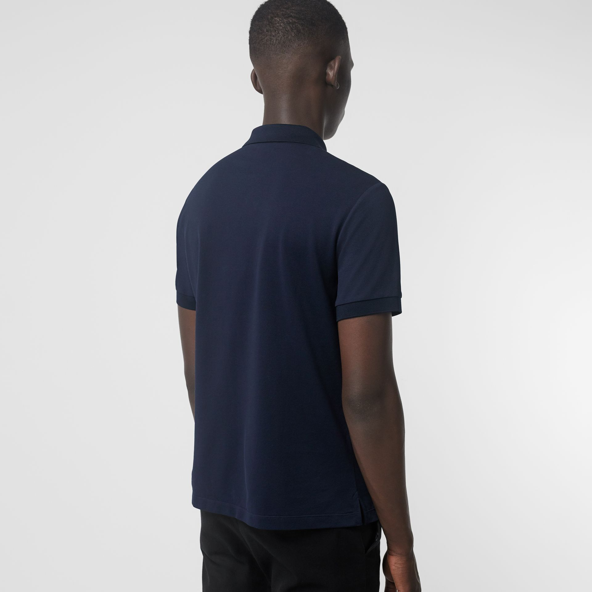 Painted Button Cotton Piqué Polo Shirt in Navy - Men | Burberry - gallery image 2