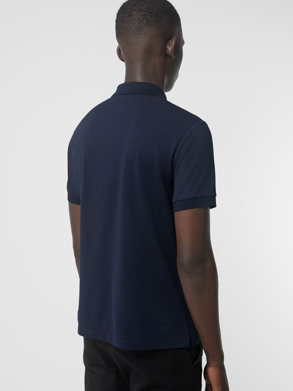 Painted Button Cotton Piqué Polo Shirt in Navy - Men | Burberry Hong Kong - cell image 2