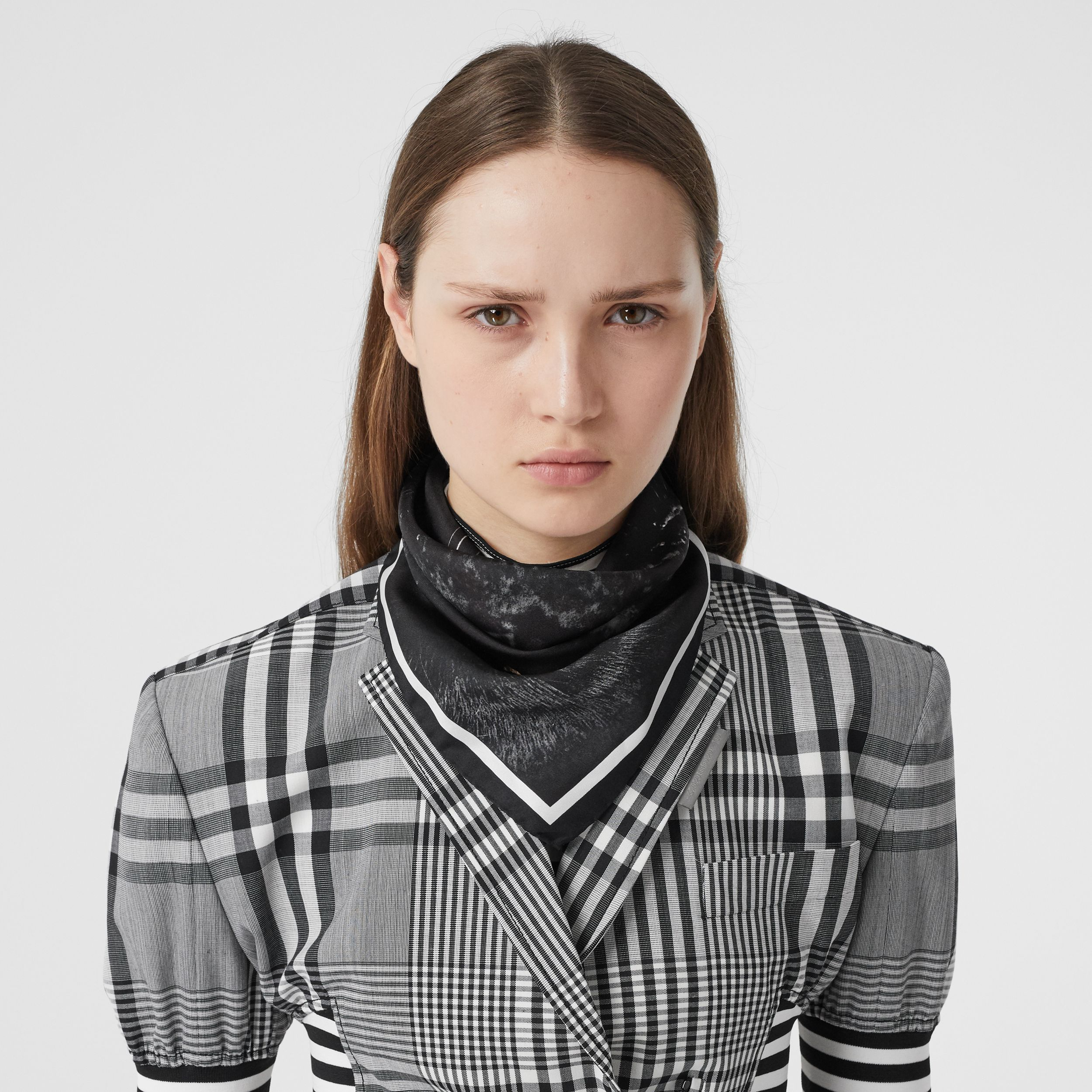 Panther Print Silk Small Square Scarf in Black | Burberry - 3