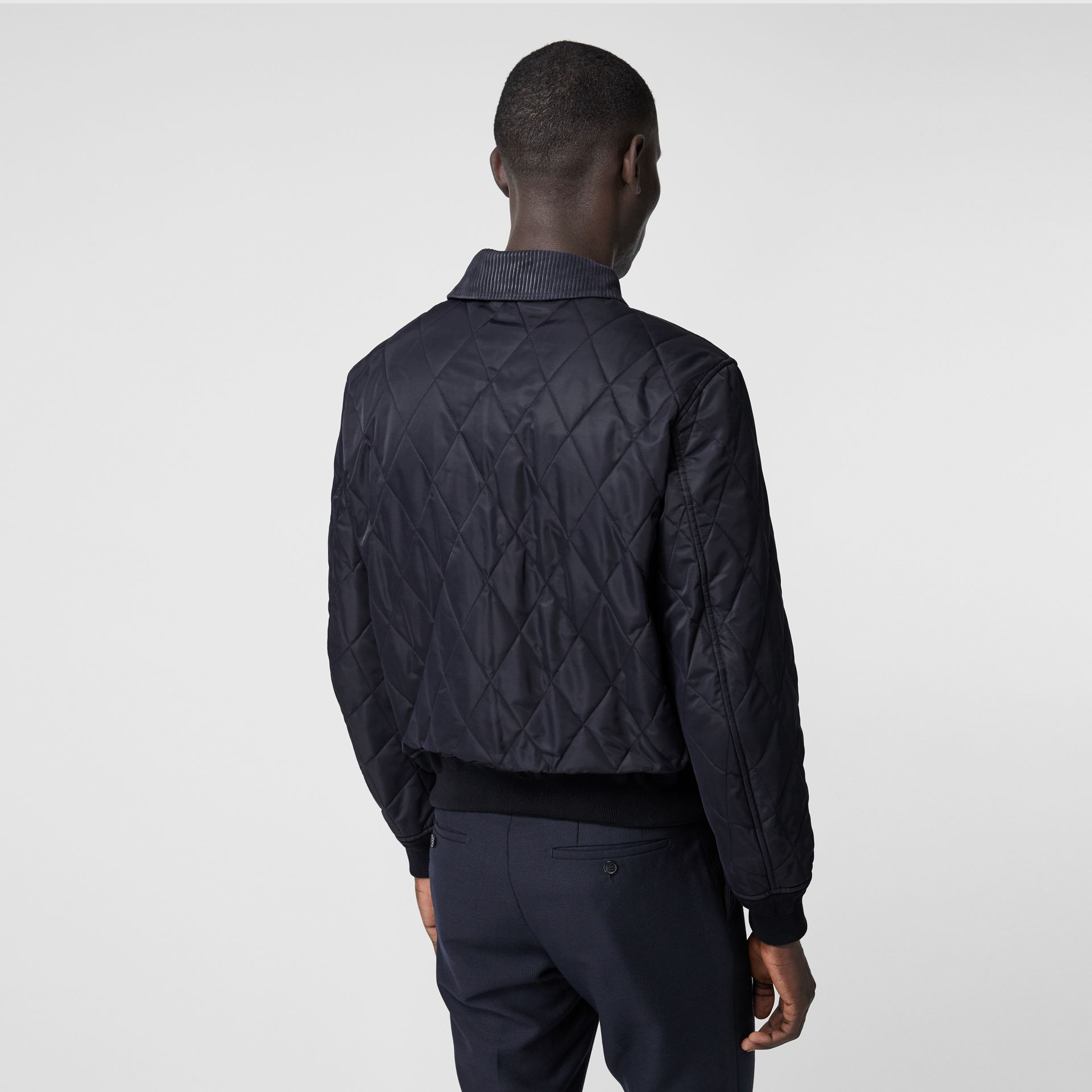 Diamond Quilted Thermoregulated Jacket in Navy - Men | Burberry - gallery image 2