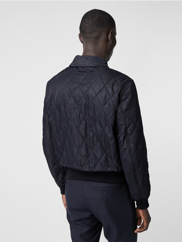 Diamond Quilted Thermoregulated Jacket in Navy - Men | Burberry - cell image 2