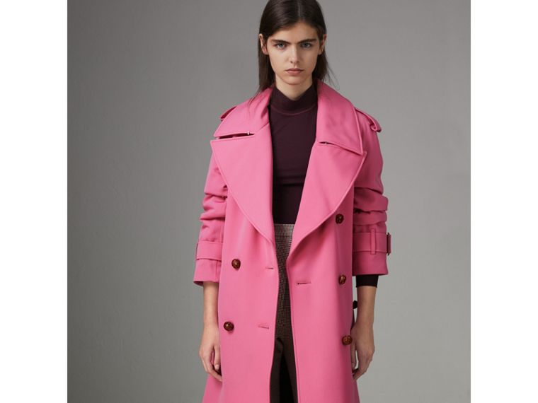 Oversized Lapel Wool Gabardine Trench Coat in Bright Pink - Women | Burberry - cell image 4