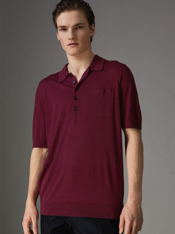 Knitted Silk Polo Shirt in Dark Crimson