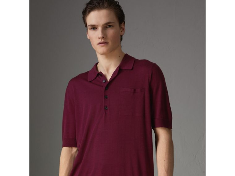 Knitted Silk Polo Shirt in Dark Crimson - Men | Burberry - cell image 4