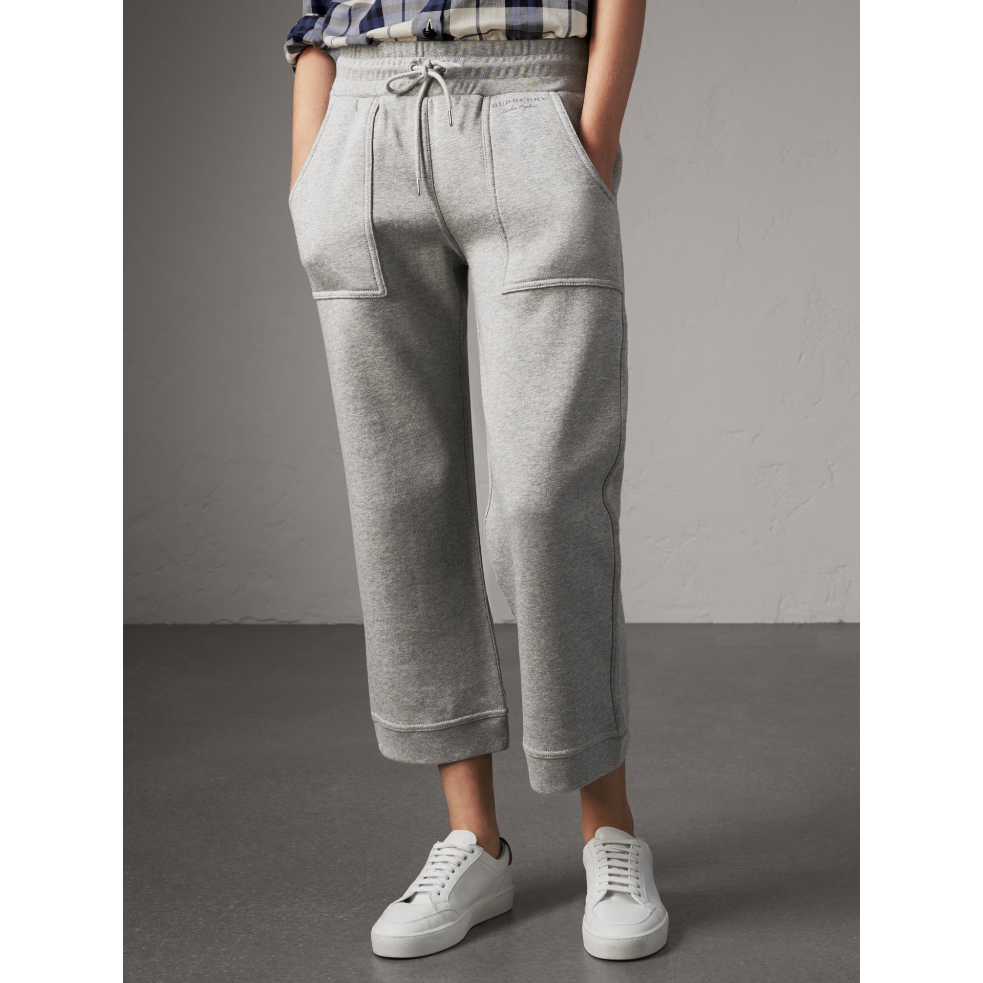 Cropped Jersey Sweatpants in Pale Grey Melange - Women | Burberry - gallery image 4
