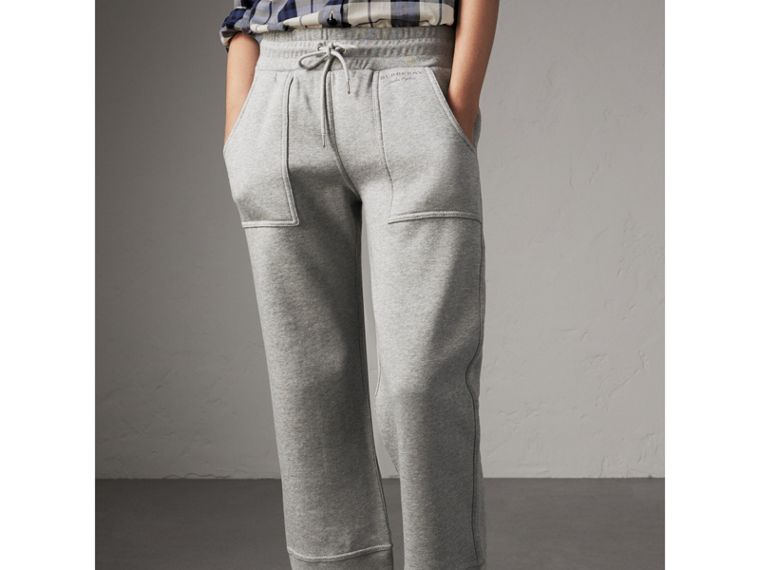 Cropped Jersey Sweatpants in Pale Grey Melange - Women | Burberry United Kingdom - cell image 4