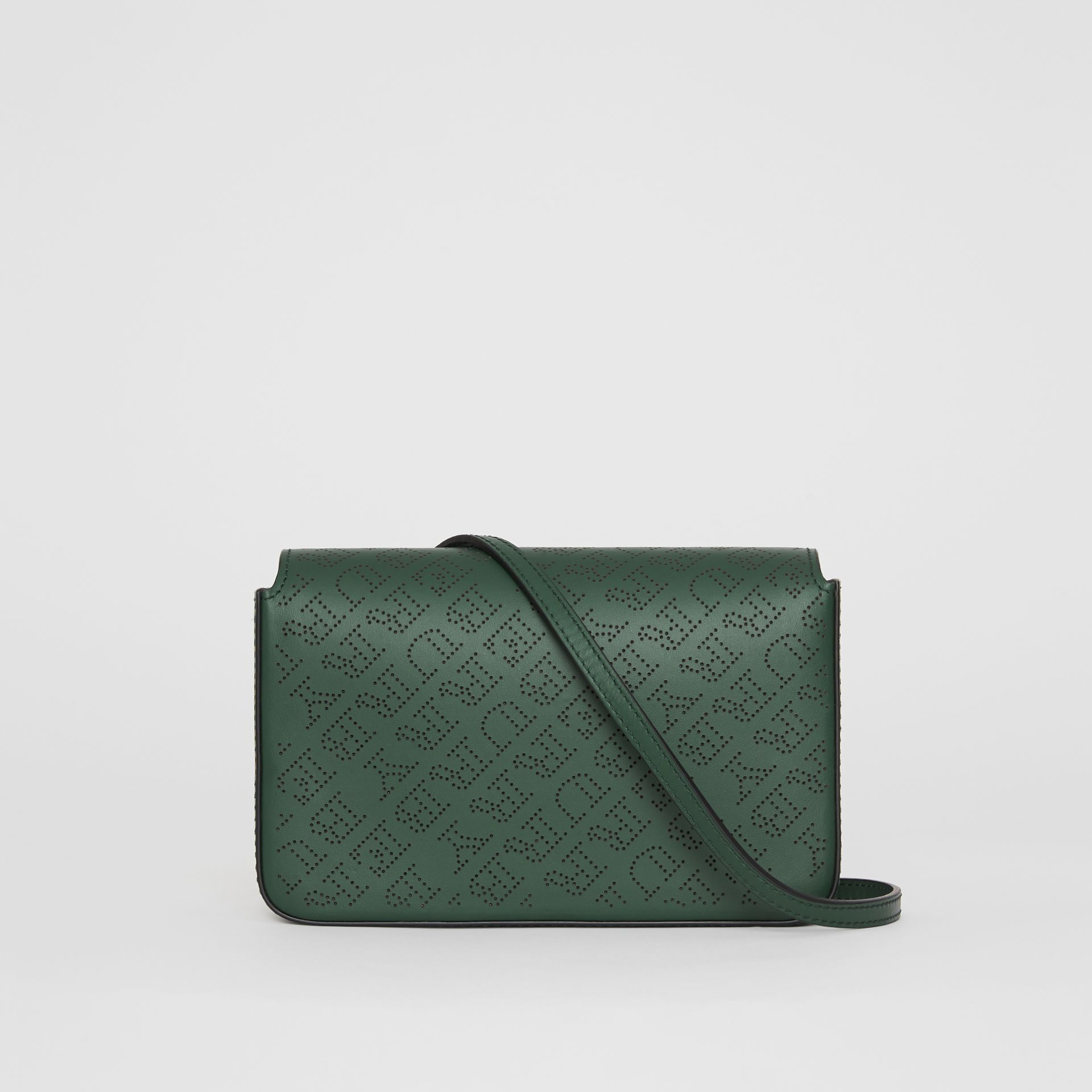 Perforated Logo Leather Wallet with Detachable Strap in Vintage Green - Women | Burberry Singapore - gallery image 0