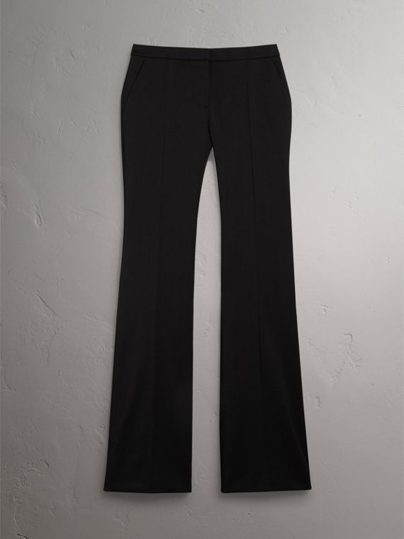 Wide-leg Wool Tailored Trousers in Black - Women | Burberry United Kingdom - cell image 3