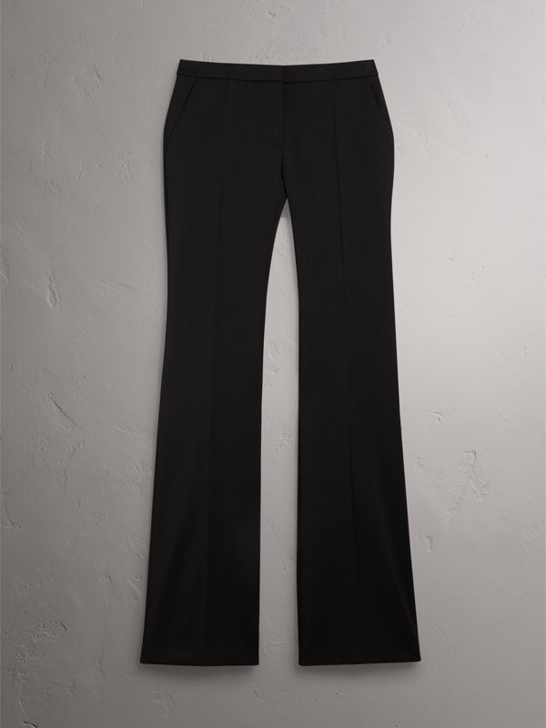 Wide-leg Wool Tailored Trousers in Black - Women | Burberry - cell image 3