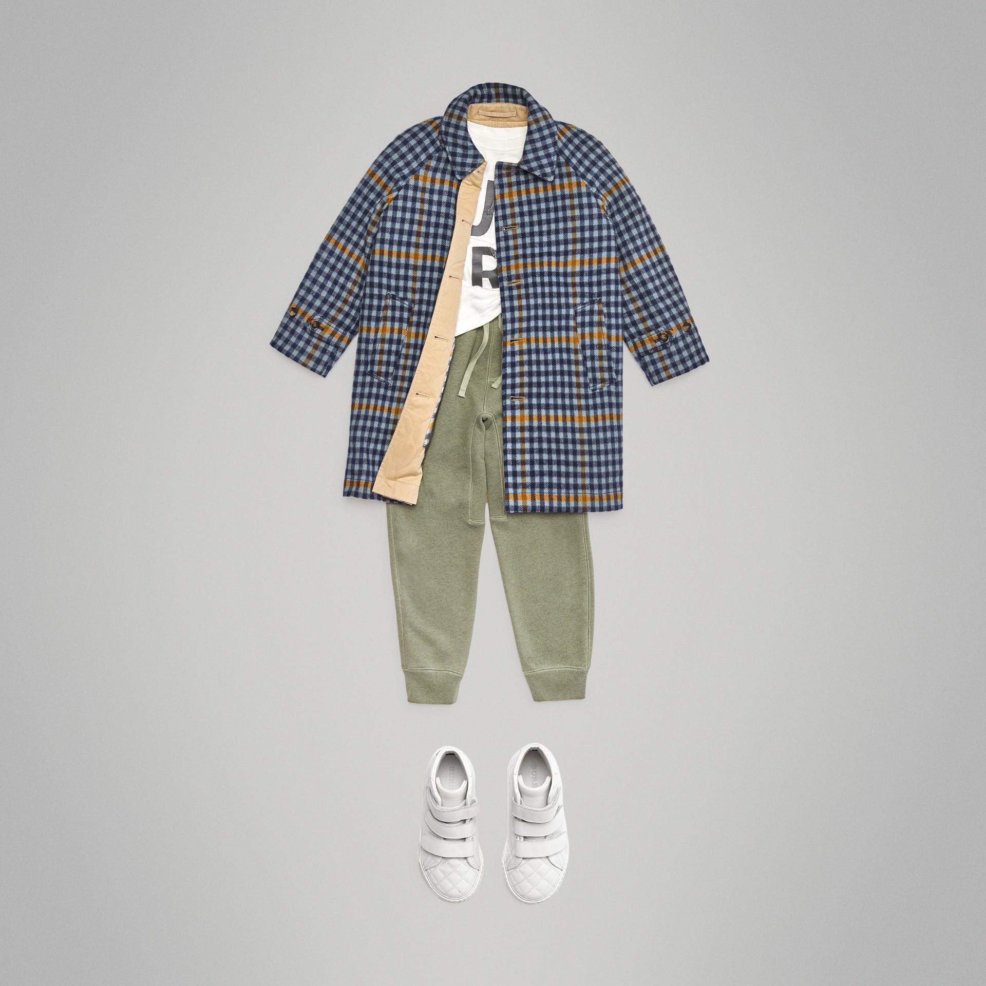 Car coat dupla face de algodão e lã com estampa xadrez (Azul Lona) | Burberry - galeria de imagens 3