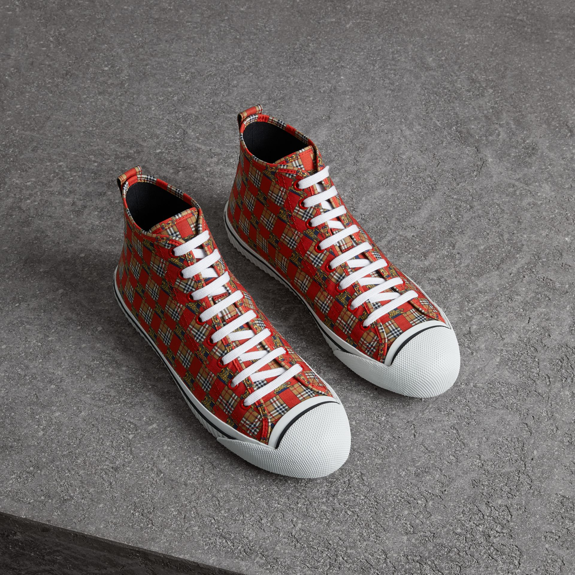 Tiled Archive Print Cotton High-top Sneakers in Bright Red | Burberry - gallery image 0