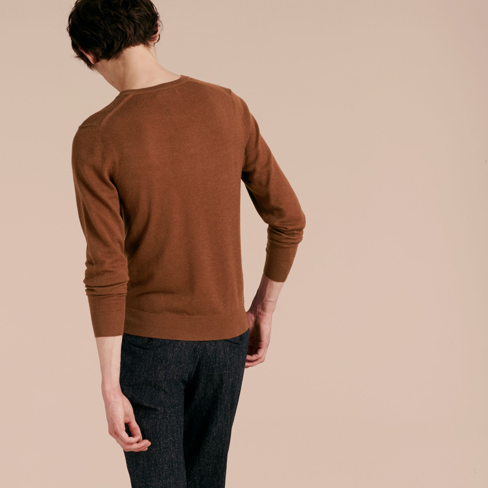 Dark camel Cashmere V-neck Sweater Dark Camel - gallery image 3