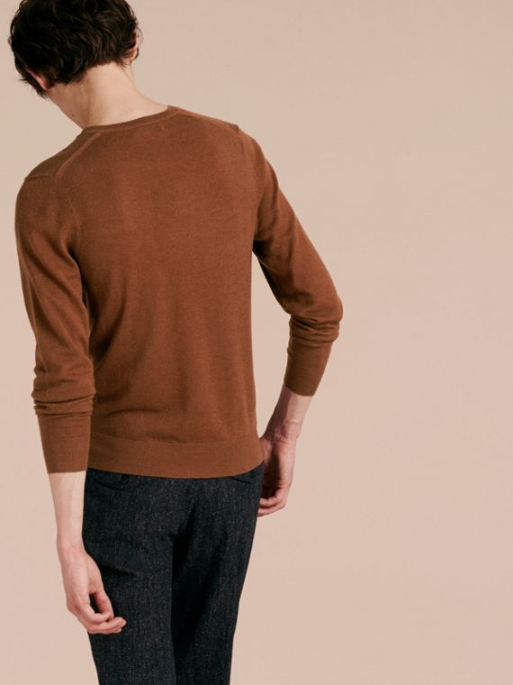 Dark camel Cashmere V-neck Sweater Dark Camel - cell image 2