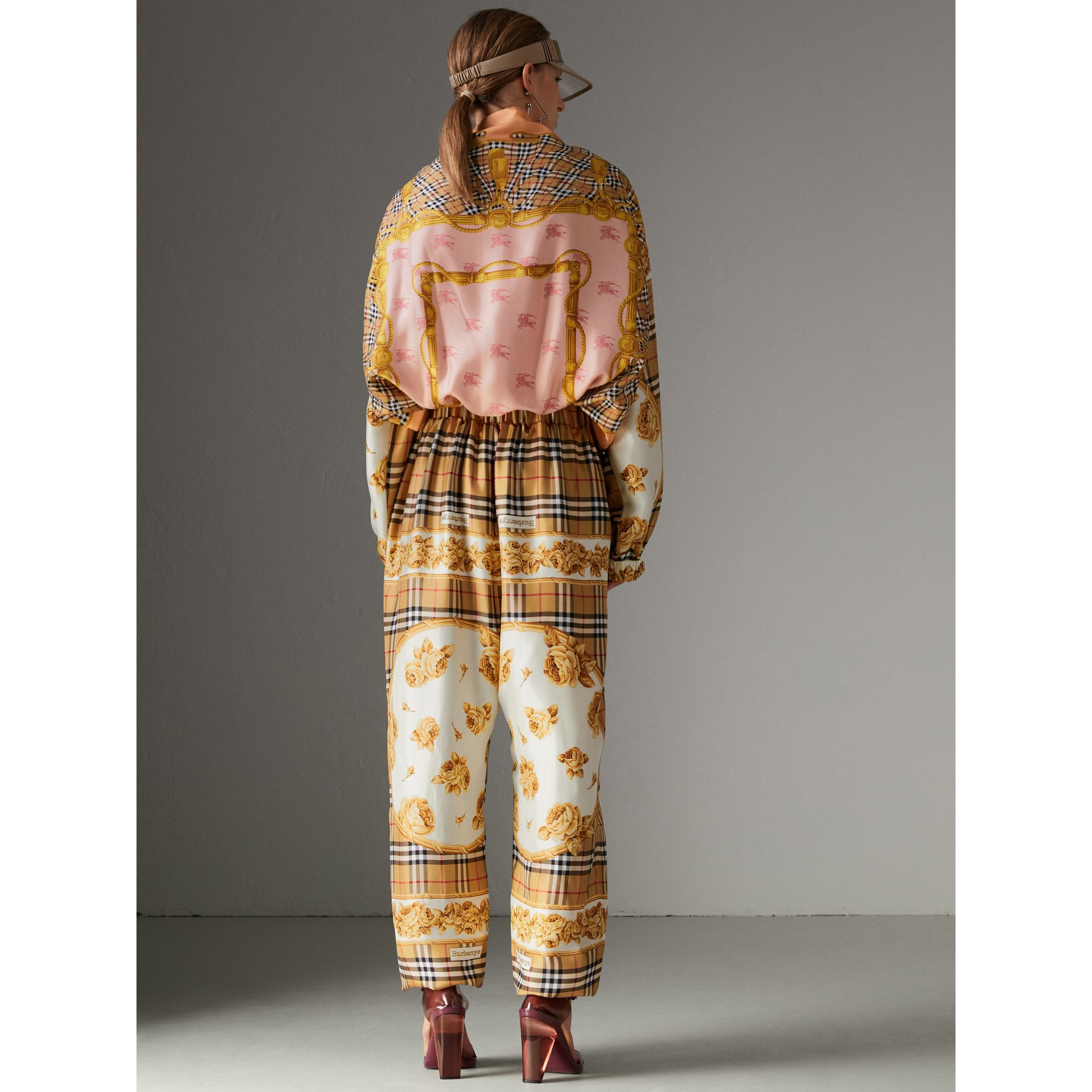 Vintage Check and Archive Scarf Print Jumpsuit in Antique Yellow - Women | Burberry United Kingdom - gallery image 2