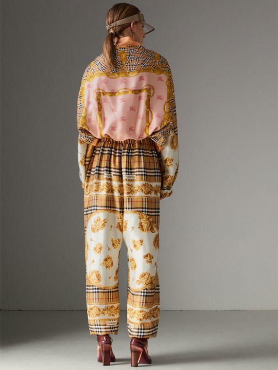 Vintage Check and Archive Scarf Print Jumpsuit in Antique Yellow - Women | Burberry United Kingdom - cell image 2