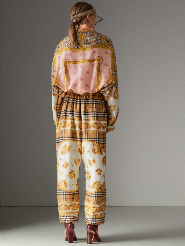 Vintage Check and Archive Scarf Print Jumpsuit in Antique Yellow - Women | Burberry Canada - cell image 2