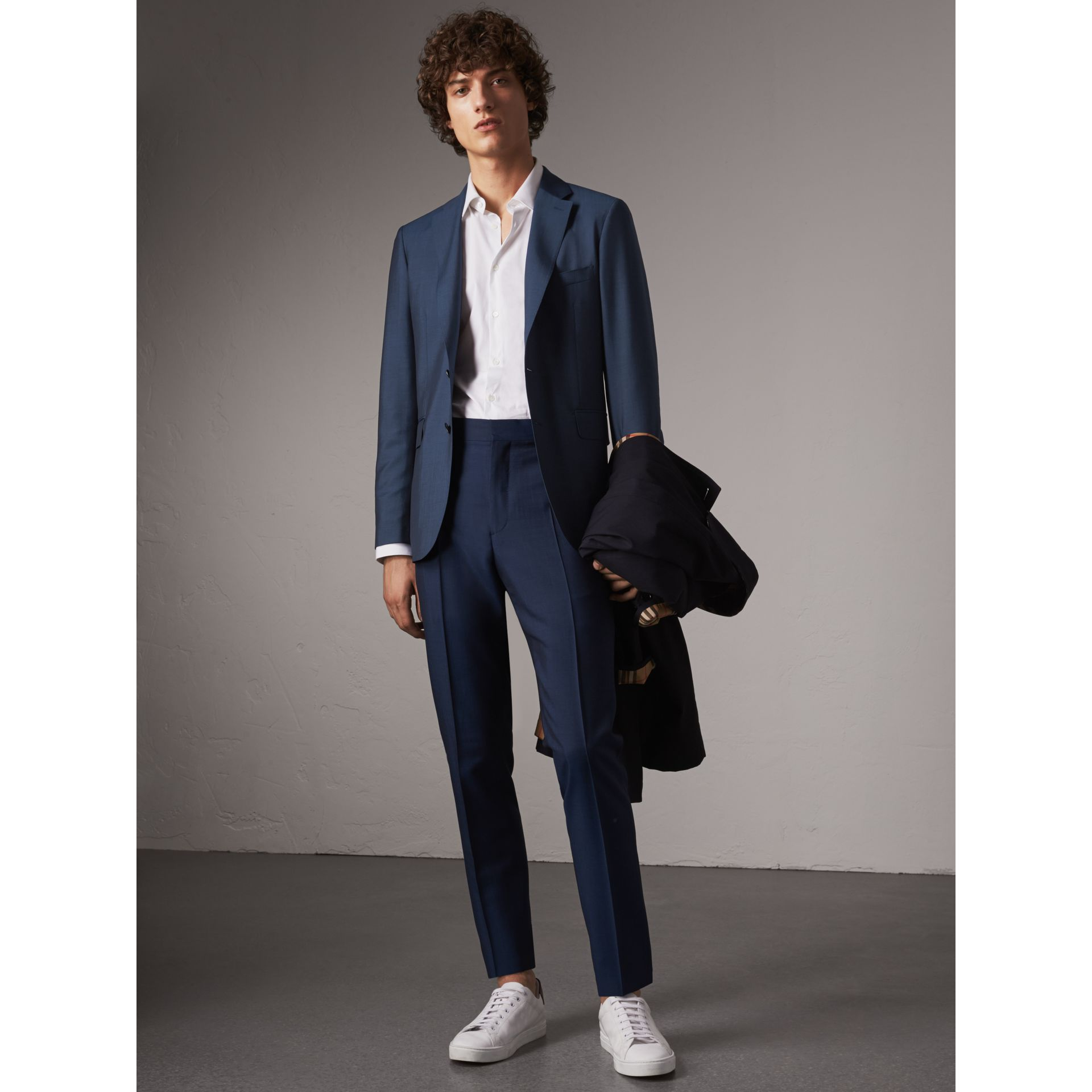 Soho Fit Wool Mohair Suit in Bright Navy - Men | Burberry - gallery image 1
