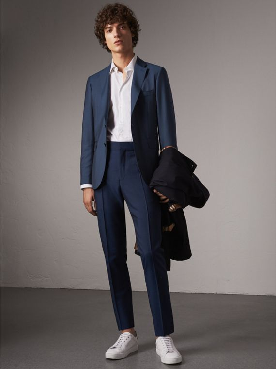 Soho Fit Wool Mohair Suit in Bright Navy - Men | Burberry
