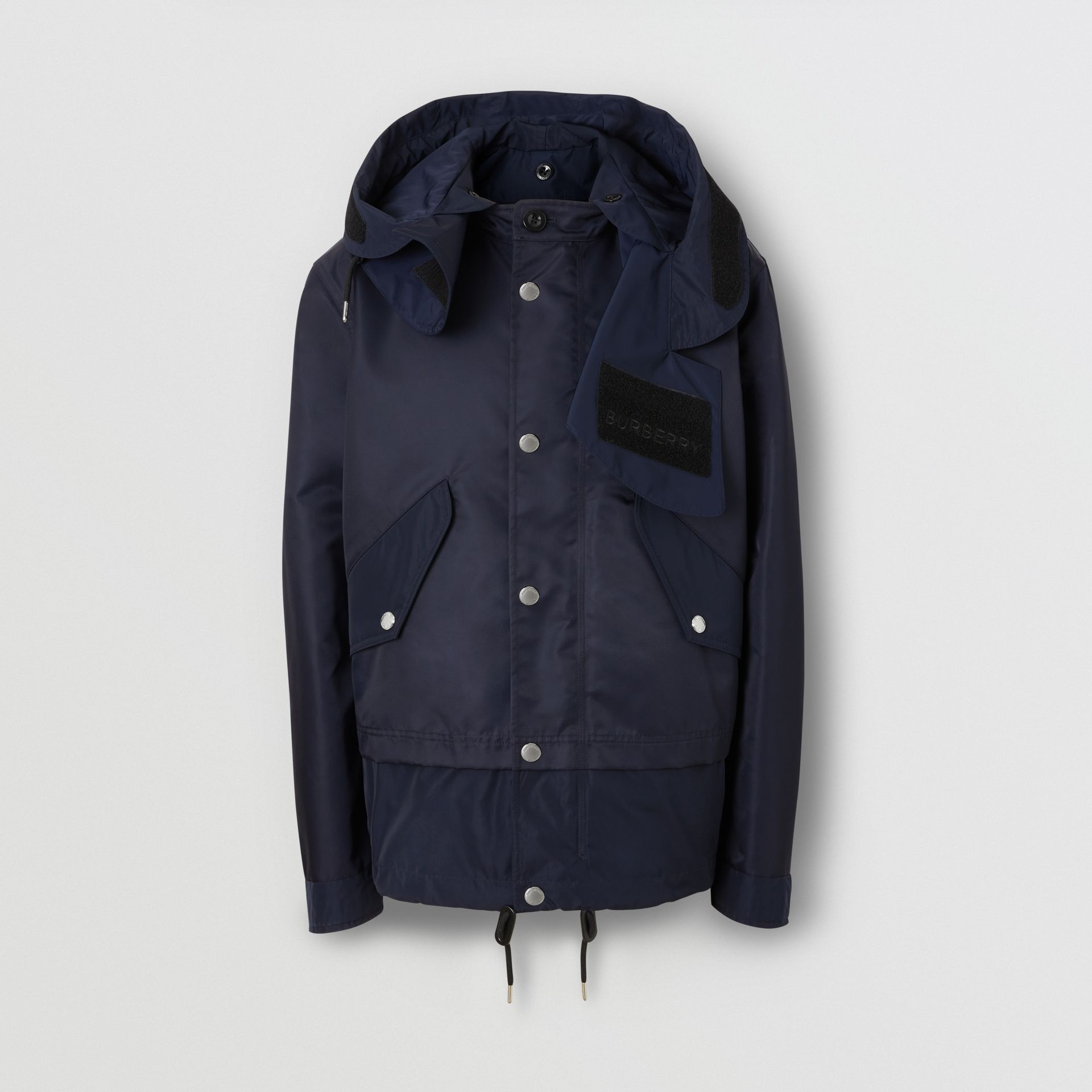 Detachable Hood Nylon Twill Jacket in Navy - Men | Burberry - gallery image 3