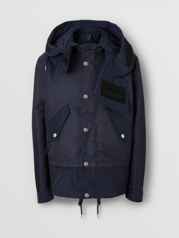 Detachable Hood Nylon Twill Jacket in Navy