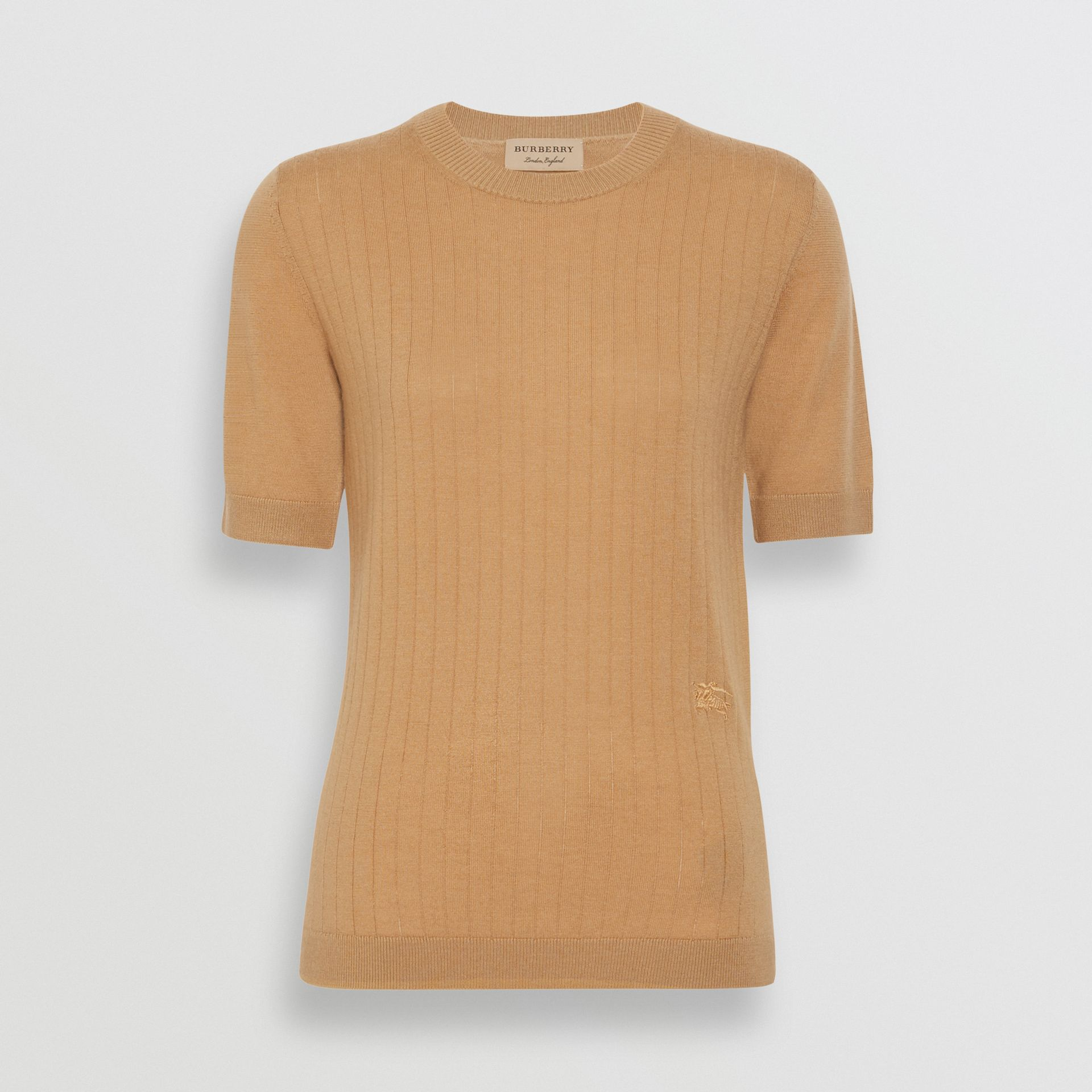 Short-sleeve Rib Knit Cashmere Sweater in Camel - Women | Burberry Singapore - gallery image 3