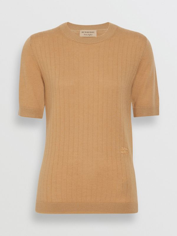 Short-sleeve Rib Knit Cashmere Sweater in Camel - Women | Burberry Singapore - cell image 3