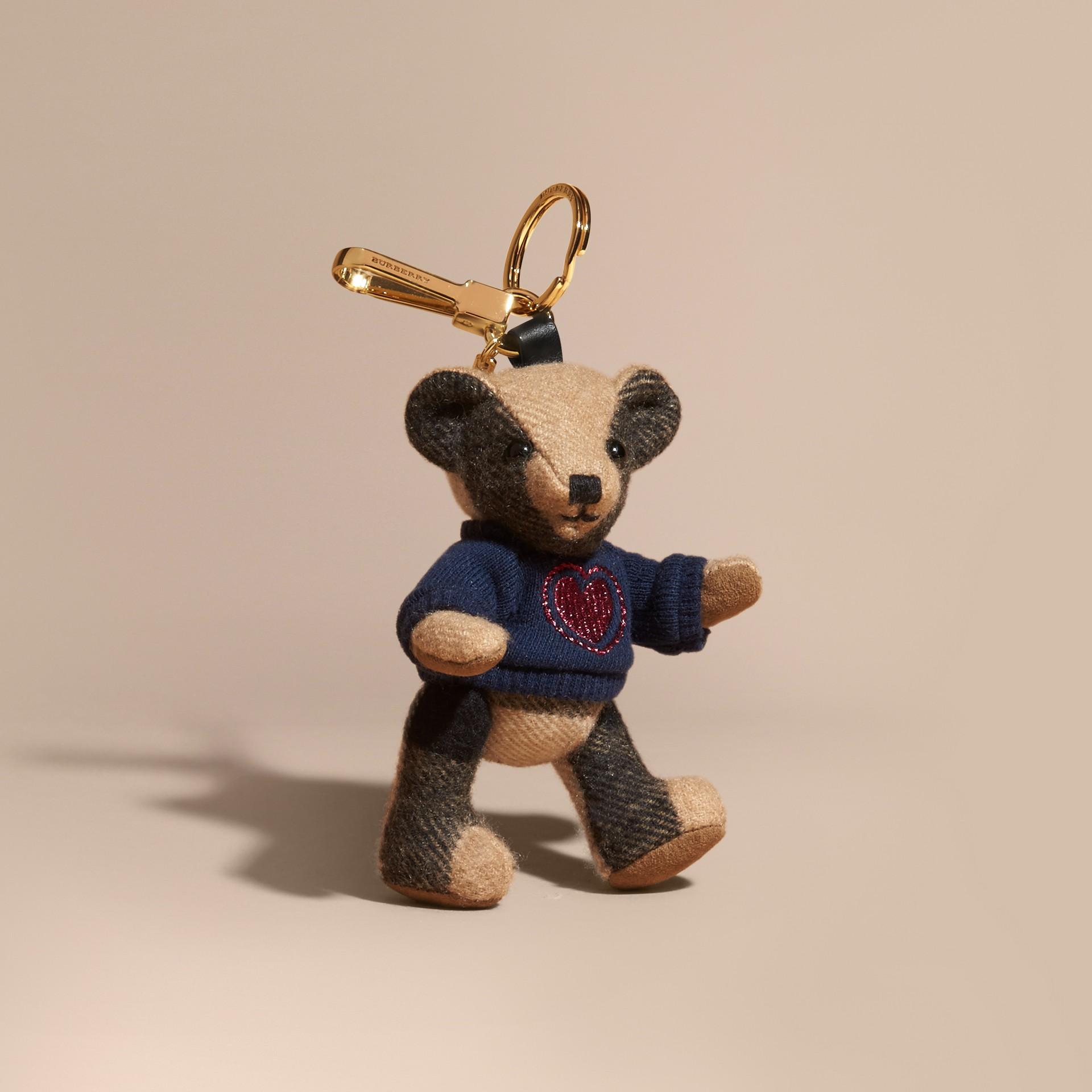 Chameau Bijou porte-clés Thomas Bear en cachemire à motif check - photo de la galerie 1