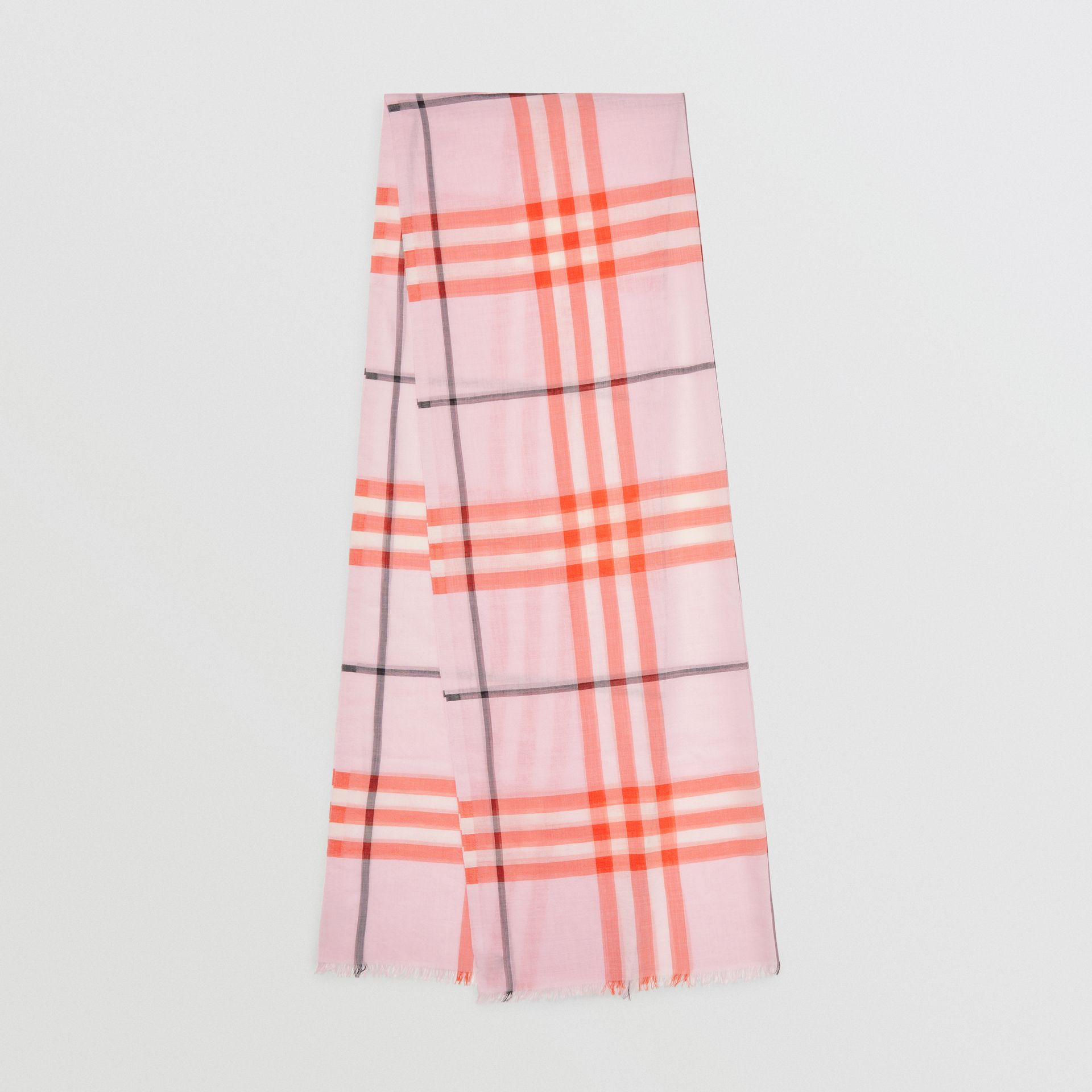 Lightweight Check Wool and Silk Scarf in Pale Blossom | Burberry - gallery image 0