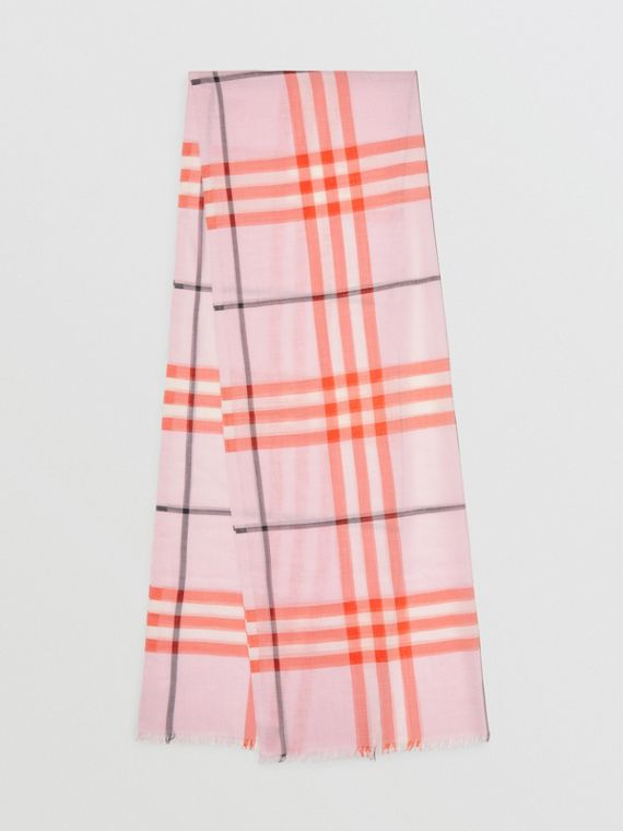 Lightweight Check Wool and Silk Scarf in Pale Blossom