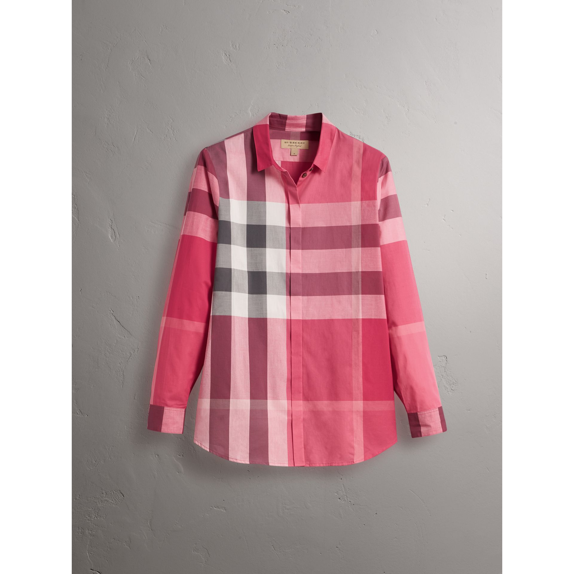 Check Cotton Shirt in Crimson Pink - Women | Burberry Canada - gallery image 4