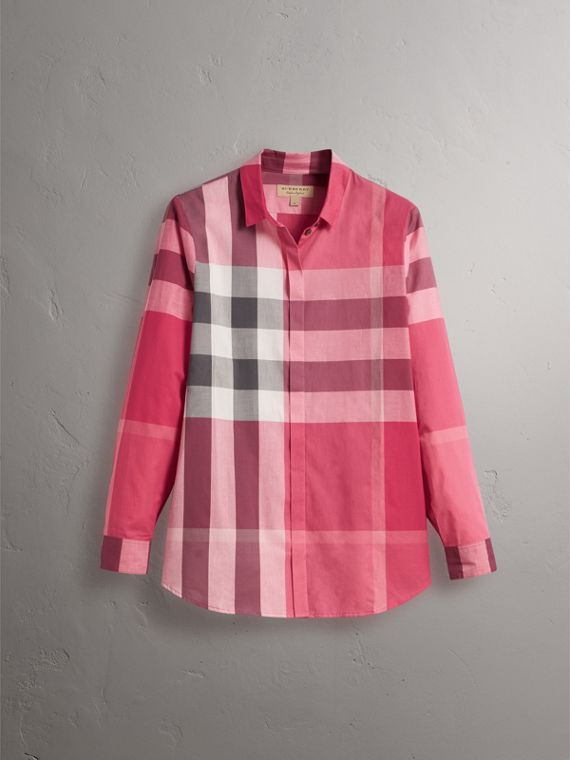 Check Cotton Shirt in Crimson Pink - Women | Burberry - cell image 3