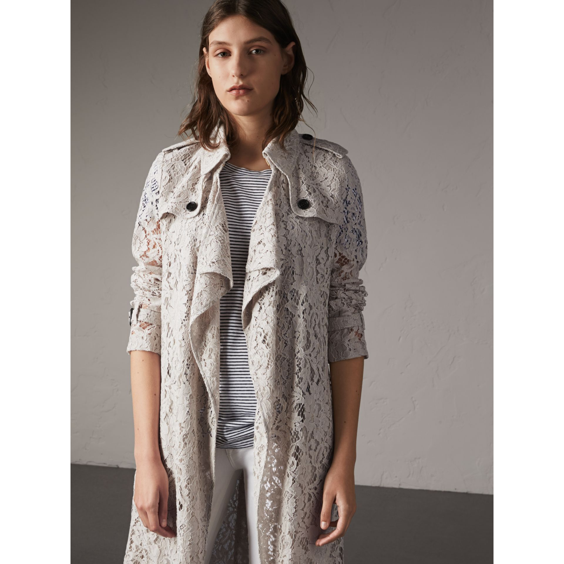 Macramé Lace Trench Coat in Pale Grey - Women | Burberry - gallery image 6