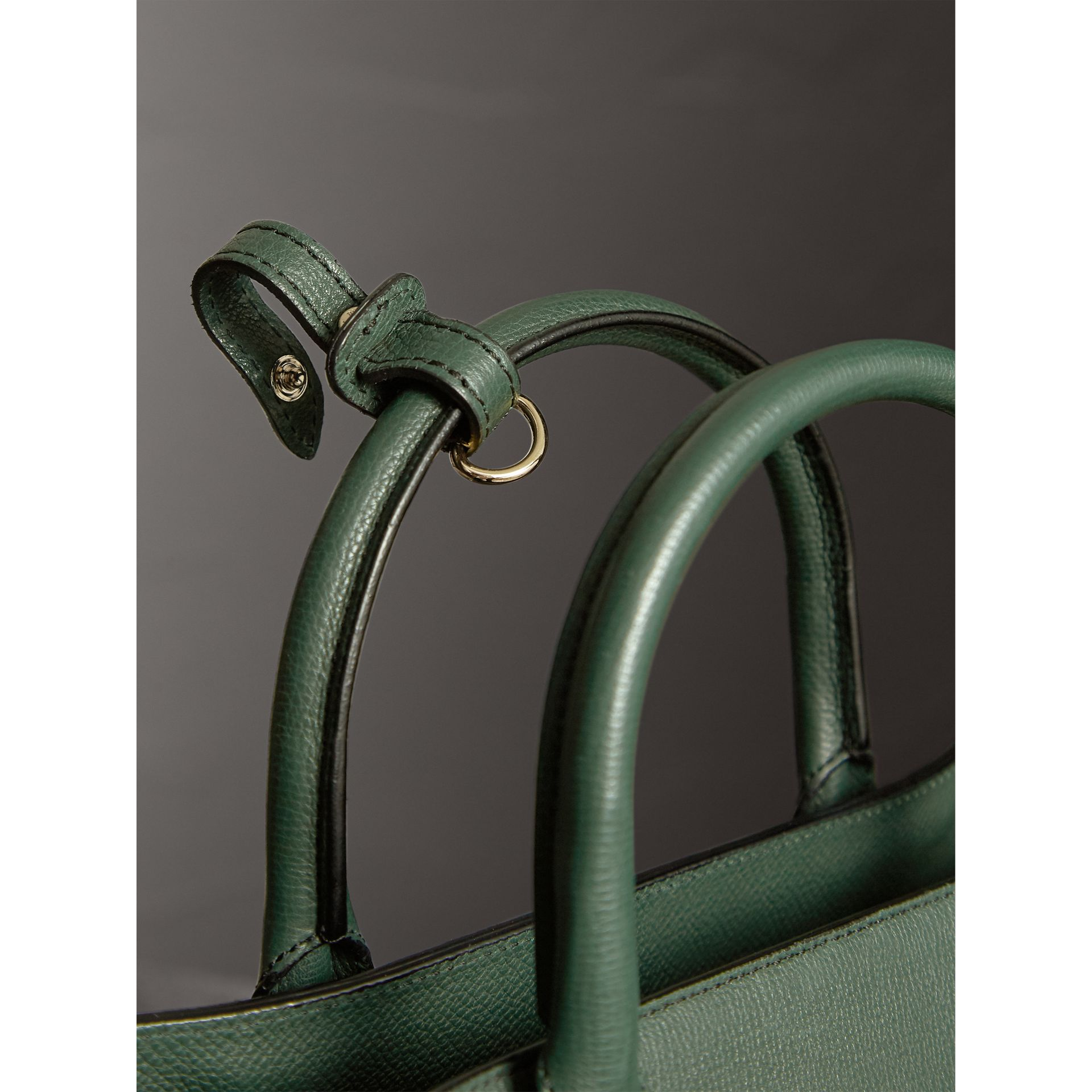 The Medium Banner in Leather and House Check in Dark Bottle Green - Women | Burberry Australia - gallery image 1