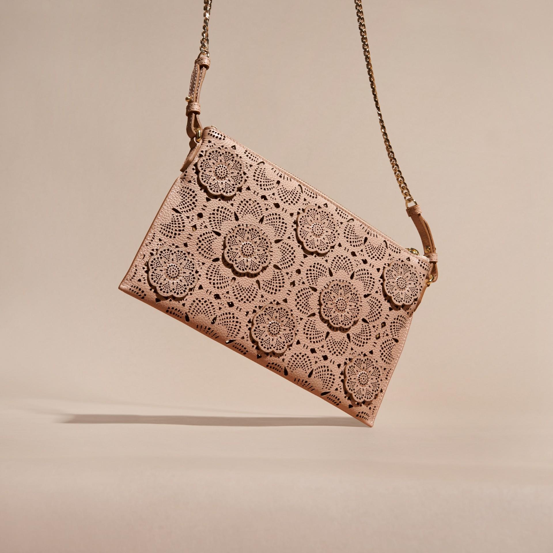 Pale apricot Laser-cut Floral Lace Leather Clutch Bag Pale Apricot - gallery image 4
