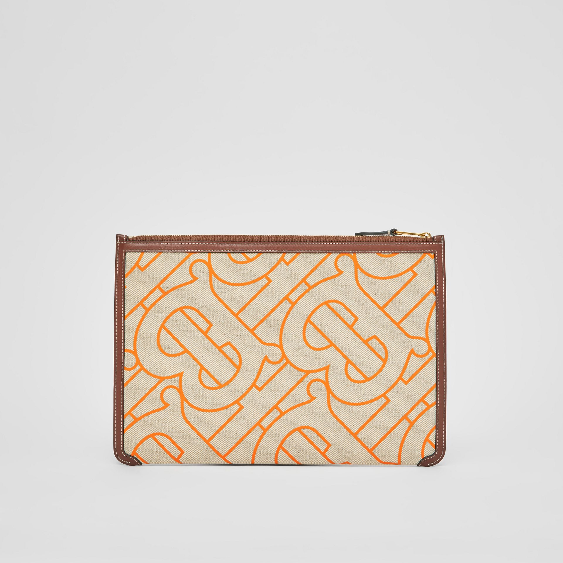 Monogram Motif Canvas and Leather Pouch in Natural/orange - Women | Burberry United Kingdom - gallery image 6