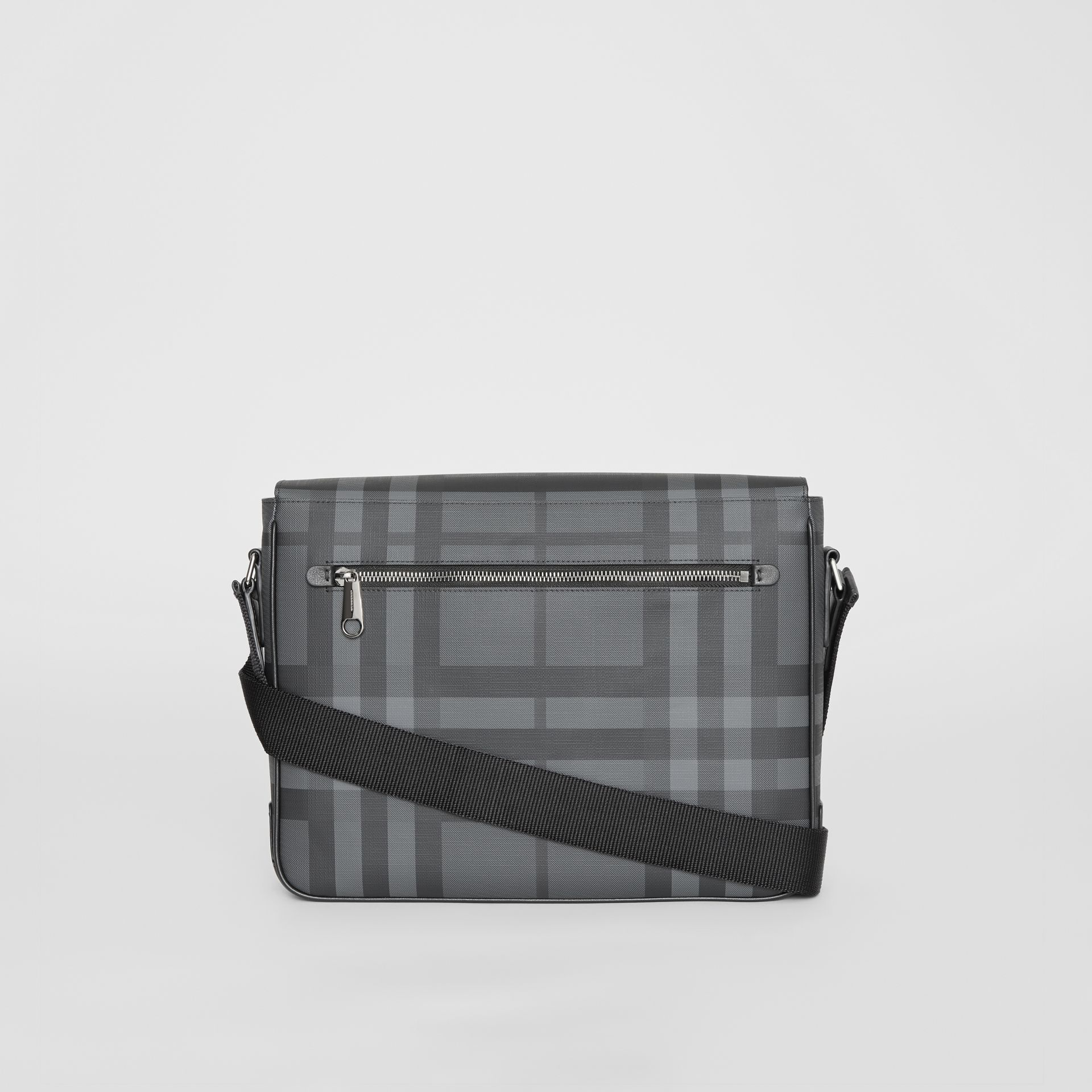 Small London Check Satchel in Charcoal/black - Men | Burberry - gallery image 7