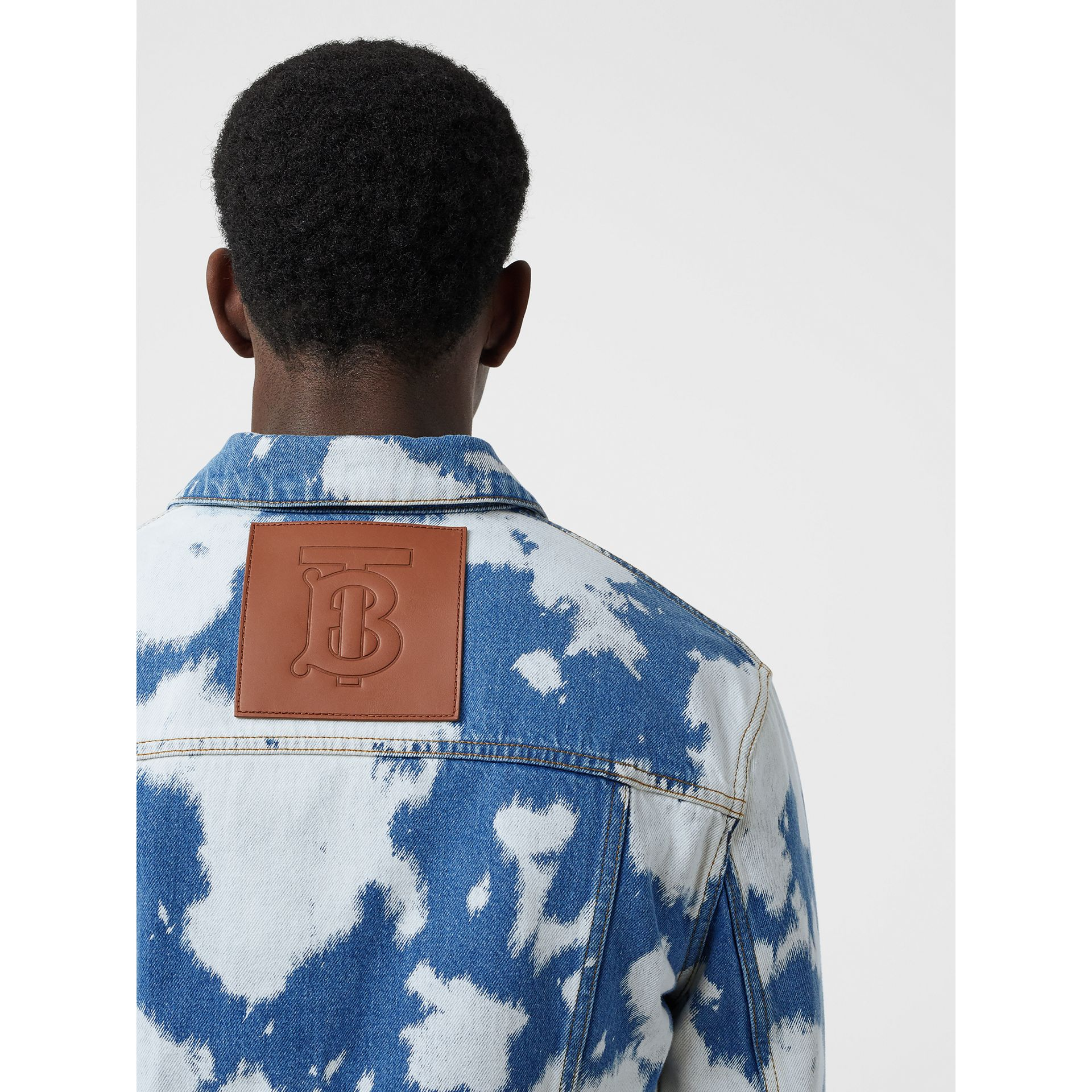Monogram Motif Bleached Denim Jacket in Light Indigo - Men | Burberry - gallery image 1